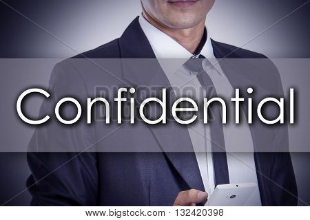 Confidential - Young Businessman With Text - Business Concept