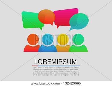 People icons with colorful dialog speech bubbles. Vector illustration
