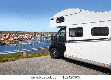 Travelling with a motor home , scenic view