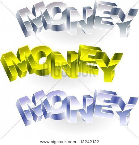 MONEY. Metal 3d illustration.