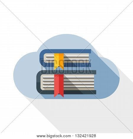 Vector Cloud Library or Online Library icon. Online Library or Cloud Library simple icon in flat style with long shadow on white background