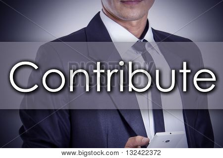 Contribute - Young Businessman With Text - Business Concept