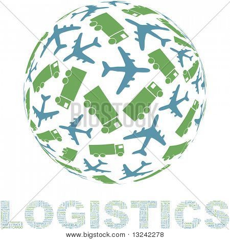 Globe with transport mix. Vector illustration.