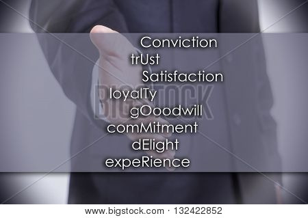 Conviction Trust Satisfaction Loyalty Gooodwill Commitment Delight Experience Customer - Business Co