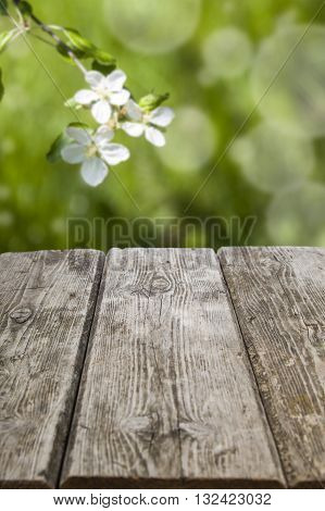 Old Wooden Table And Spring Landscape
