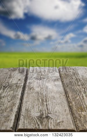 Old Wooden Table Close-up