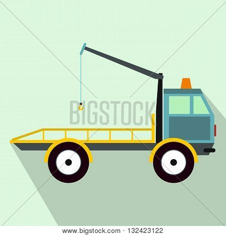 Car towing truck icon in flat style on a light blue background