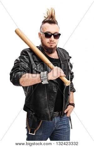 Vertical shot of a punk with Mohawk hairstyle holding a baseball bat isolated on white background