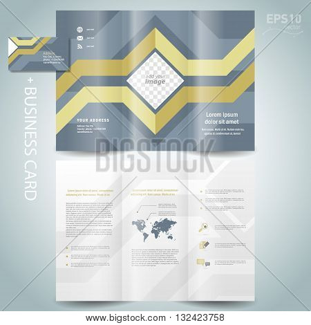 brochure design template vector folder leaflet geometric abstract grach diagram blue line grey background block for images