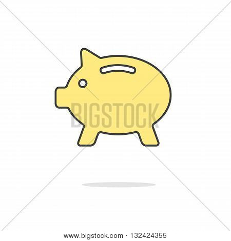simple yellow piggy bank icon with shadow. concept of poverty, deposit policy, nest egg, money for rainy day and thrift. isolated on white background. flat style modern logo design vector illustration