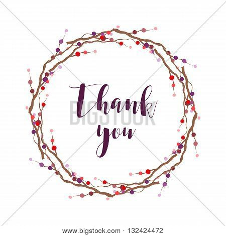 Thank you lettering. Thank you phrase. Thank you sign with flower wreath. Vector lettering illustration