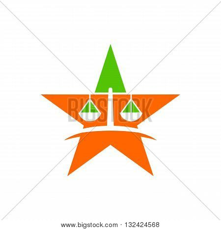 Law court bank house symbol justice finance icon star