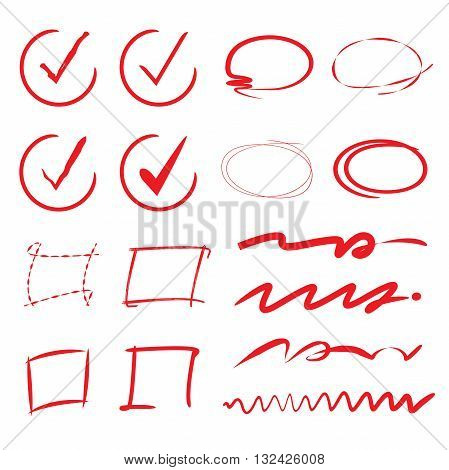 set of red hand drawn check marks, underlines