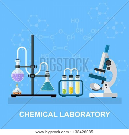 Chemistry laboratory workspace and science equipment concept. The chemical background, banner, cover. Science, education, chemistry, experiment, laboratory concept. vector illustration in flat design