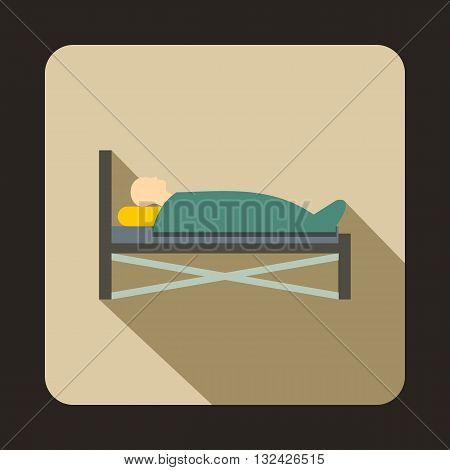 Patient in bed in hospital icon in flat style with long shadow. Treatment and medicine symbol