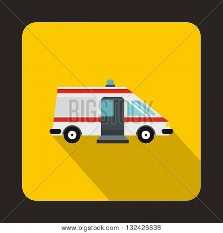Ambulance icon in flat style with long shadow. Treatment and medicine symbol