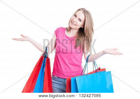 Woman With Colored Shopping Bags Acting Cheerful And Smiling