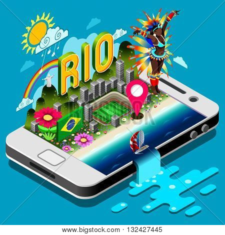 2016 Brasil Summer Games Infographic.Sport Event on Smartphone or Tablet Device.Landmarks Signs and Symbols Soccer Field Carnival Brazil Flag.3D Isometric Vector Illustration