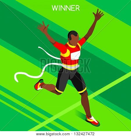 Olympic Rio 2016 Running Winner Athletics Summer Games Icon Set.Winning Concept.3D Isometric Win Runner Athlete.Sport of Athletics Sporting Competition.Sport Infographic Track Field Vector Illustration
