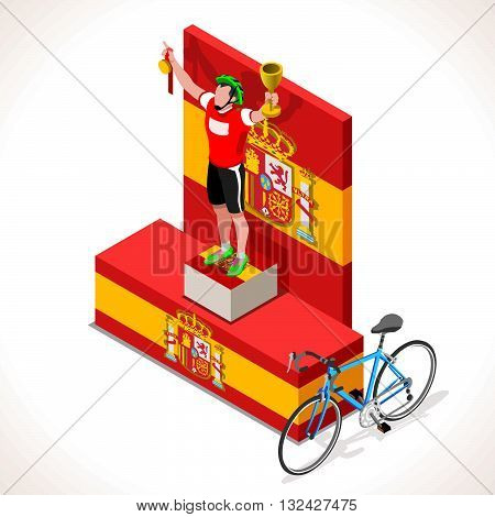 Vuelta de Espana Spain racing winning cyclist. Vector cycling icon. Cyclist icons. Flat 3D isometric people set of vector bicyclist icons. Isometric bicycle 2016 Cycling race icons.