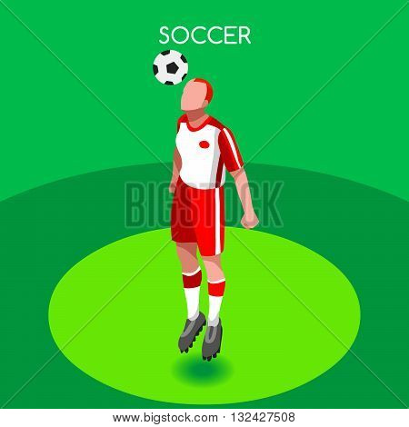 Soccer Header Player Athlete Summer Games Icon Set.3D Isometric Field Soccer Match and Players.Sporting International Competition Championship.Sport Soccer Infographic Football Vector Illustration.