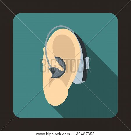 Hearing aid icon in flat style with long shadow. Equipment symbol
