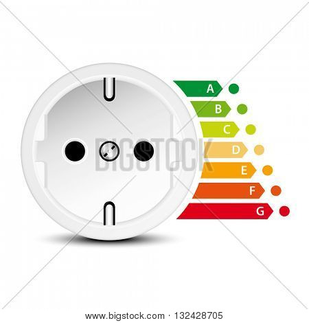 Socket icon with energy efficiency graph