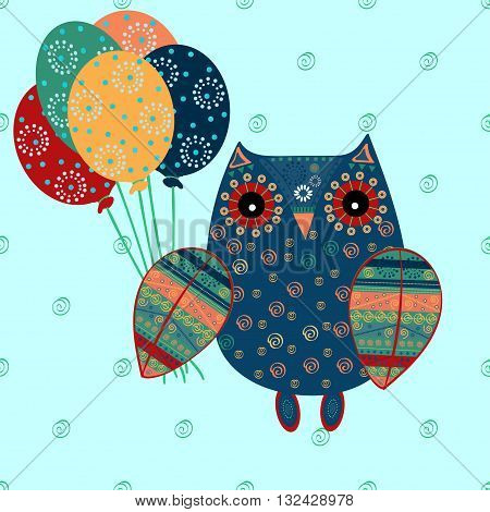 Cute owl with ethnic ornament birthday balloons. Animal bird symbol of wisdom. Funny owl. Vector owl. Bird of prey owl.