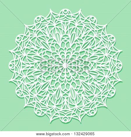 Beautiful mandala lace ornament on green background for cards, stamps, coloring books or invitations. Mandala round element.