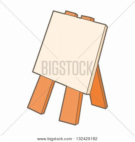 Wooden easel icon in cartoon style on a white background