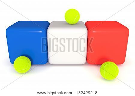 French flag Tricolor cubes with tennis balls 3d illustration