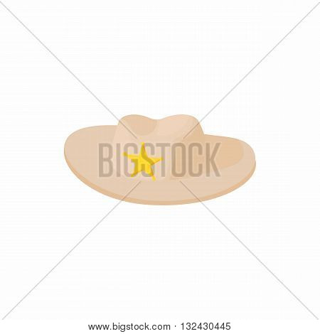 Cowboy hat with star icon in cartoon style on a white background