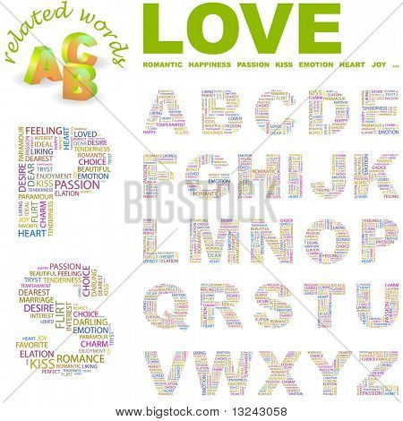 LOVE. Vector letter collection. Illustration with different association terms.