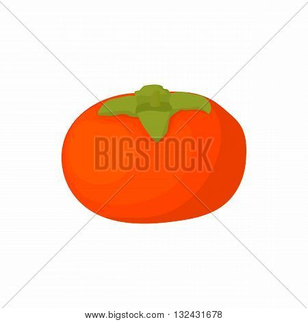 Ripe persimmon icon in cartoon style on a white background