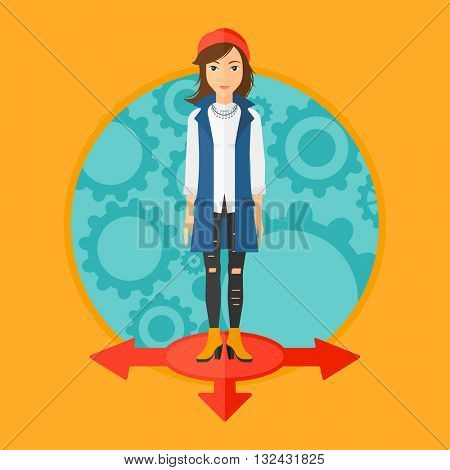 A woman  standing on three alternative ways on a background with cogwheels. Vector flat design illustration in the circle isolated on background.
