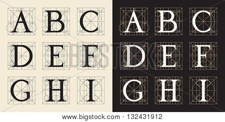 Designing Initials, letters A-I