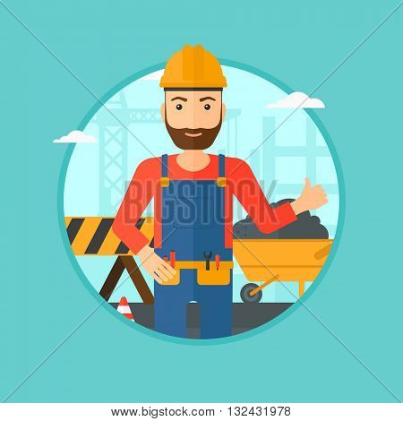 A hipster builder in helmet giving thumb up. A builder with thumb up on a construction site. A man giving thumb up on a background of road works. Vector flat design illustration in the circle.