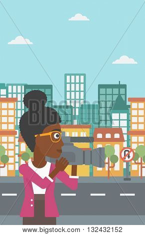 An african-american camerawoman with video camera taking a video on a city background vector flat design illustration. Vertical layout.