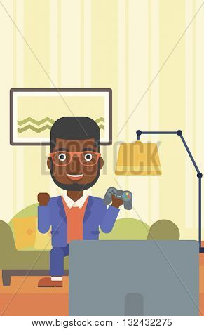An african-american man with gamepad in hands sitting on a sofa in living room vector flat design illustration. Vertical layout.