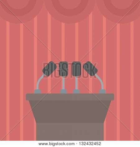 Background of tribune speech with microphones vector flat design illustration. Square layout.