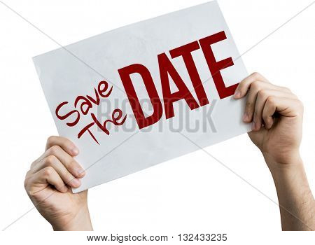 Save the Date placard isolated on white background