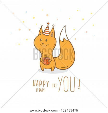 Birthday card with cute cartoon squirrel  in party hat. Little funny animal. Children's illustration. Vector image.