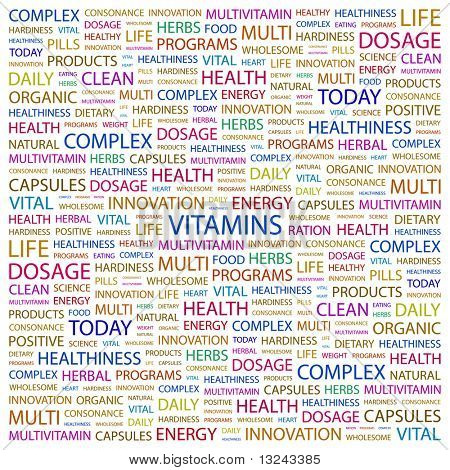 VITAMINS. Word collage on white background. Illustration with different association terms.