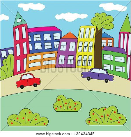 Funny cartoon town. Bright colorful town. Abstract children's town. The city with retro cars, houses and trees.