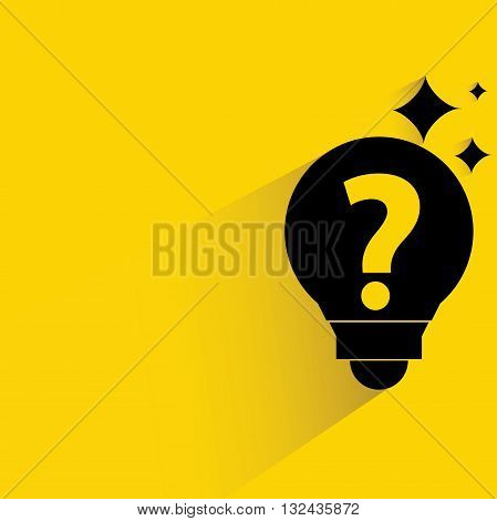 idea light buble with drop shadow on yellow background