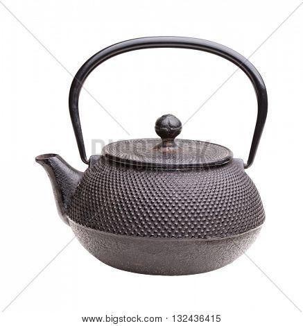 classic japanese iron kettle on white