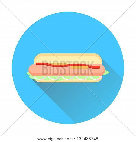 hot dog icon with long shadow flat hot dog hot dog bun hot dog vector simple hot dog hot dog sandwich