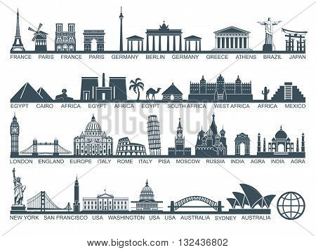 Icon architectural monuments and world tourist attractions