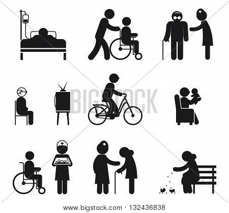 Elderly care icons. Care elderly people, care senior eldery, human care eldery. Vector illustration