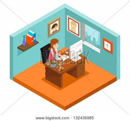 Freelancer at work. Isometric 3d freelance woman working at home. Woman freelance, business freelance job, girl freelance. Vector illustration